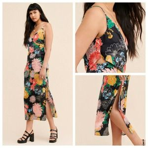 ZHU Hollow Out Large Blossom Floral Maxi Dress NWT